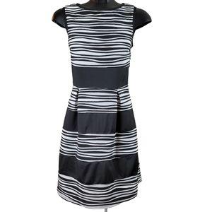 RW&CO. Dress Black White Midi Stripes Pleated